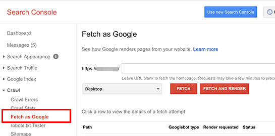 The old Fetch as Google